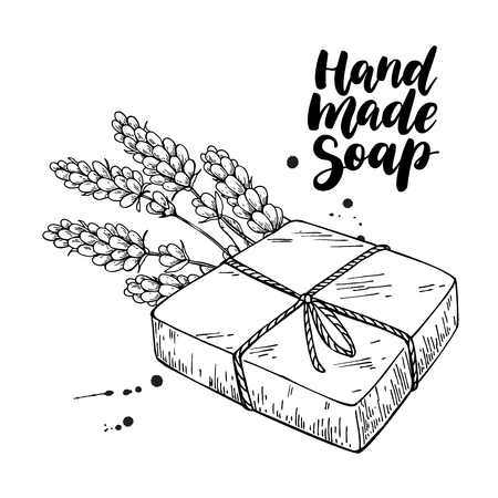 Savon naturel fait main. Vector illustration dessinée de cosmétiques bio avec des fleurs de lavande à la main. Soins corporels aux herbes. Idéal pour les étiquettes, les logos, les bannières, les emballages, les spas et les soins du corps