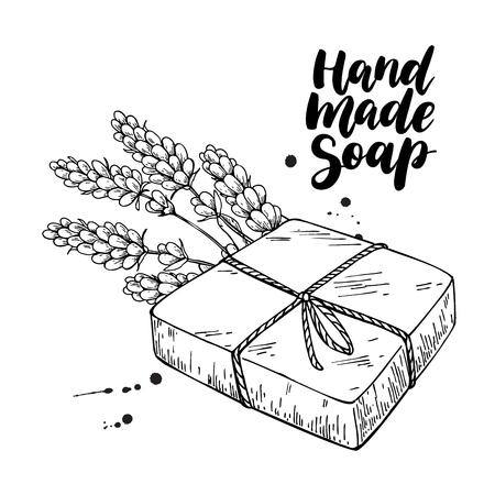 Jabón natural hecho a mano. Ilustración de dibujado a mano de vector de cosmética orgánica con flores médicas de lavanda. Cuidado corporal a base de hierbas. Ideal para promocionar etiquetas, logotipos, pancartas, embalajes, spa y cuidado corporal