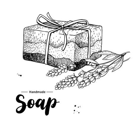 Jabón natural hecho a mano. Vector ilustración dibujado a mano de cosmética orgánica con flores médicas de lavanda. Cuidado corporal a base de hierbas. Ideal para la etiqueta, logotipo, banner, embalaje, spa y cuidado del cuerpo promover Foto de archivo - 84015176