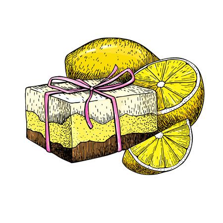 Jabón natural hecho a mano. vector dibujado a mano ilustración de cosmética orgánica con limón. Grande para la etiqueta, logotipo, bandera, el embalaje, el spa y el cuidado del cuerpo promueven Foto de archivo - 84015177