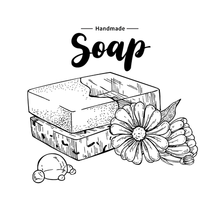 Handmade natural soap. Vector hand drawn illustration of organic cosmetic with calendula medical flowers. Herbal bodycare. Great for label, logo, banner, packaging, spa and body care promote