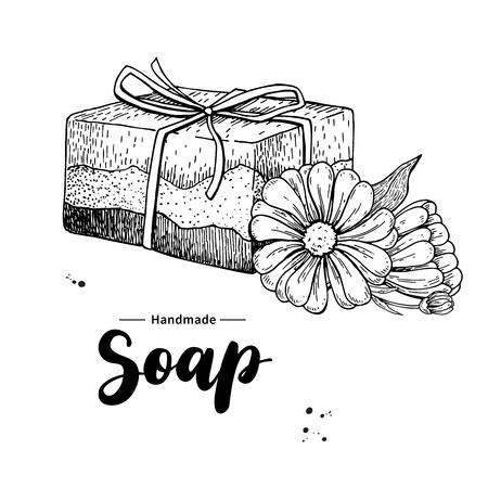 Jabón natural hecho a mano. Vector ilustración dibujado a mano de cosmética orgánica con flores médicas de caléndula. Foto de archivo - 84054700