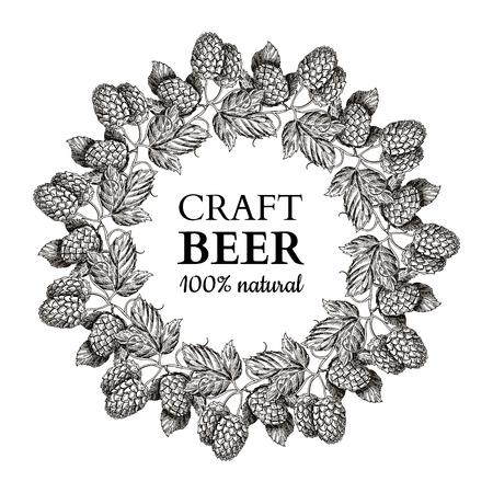 Hop plant vector krans tekening illustratie. Hand getekend zwart bier hoopt met bladeren op tak. Stock Illustratie