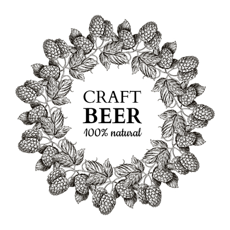 Hop plant vector wreath drawing illustration. Hand drawn black beer hopes with leaves on branch.