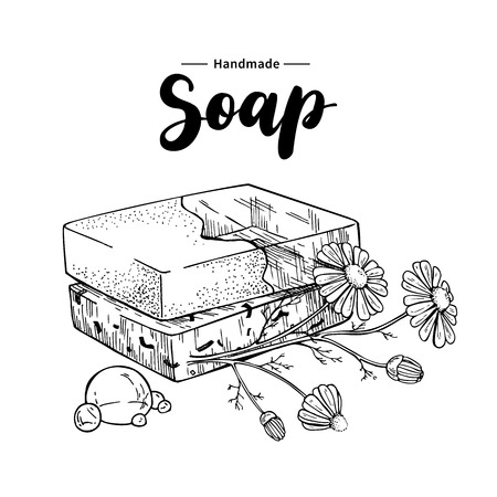 Handmade natural soap. Vector hand drawn illustration of organic cosmetic with chamomile medical flowers