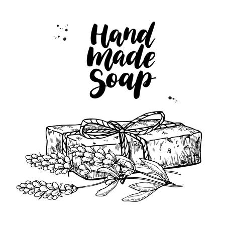 Jabón natural hecho a mano. Ilustración de dibujado a mano de vector de cosmética orgánica con flores médicas de lavanda.