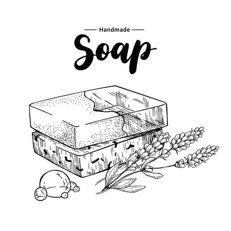 Jabón natural hecho a mano. Vector ilustración dibujado a mano de cosmética orgánica con flores médicas de lavanda. Foto de archivo - 84574222
