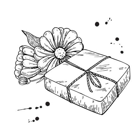 Jabón natural hecho a mano. Vector ilustración dibujado a mano de cosmética orgánica con flores médicas de caléndula. Foto de archivo - 84574221