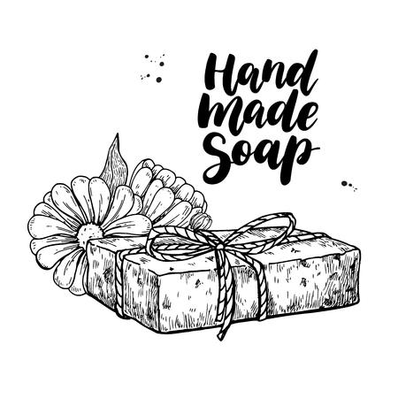 Jabón natural hecho a mano. Vector ilustración dibujado a mano de cosmética orgánica con flores médicas de caléndula.