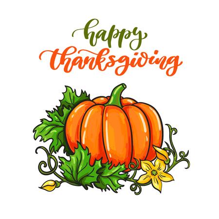 thanksgiving day symbol: Scheda del giorno del Ringraziamento con lettering scritto a mano.