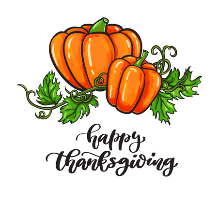 Thanksgiving day vector card with handwritten lettering.