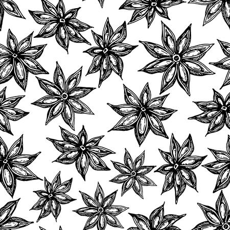 アニス スター シームレス パターン。ベクトル描画します。手描きのスケッチ。旬の食材のイラストが白で隔離。刻まれたスタイルのスパイスおよ