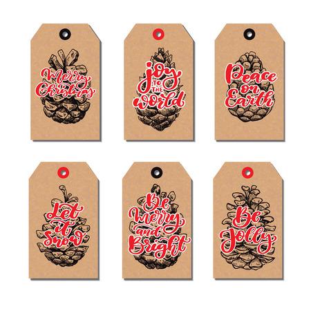 Christmas vintage gift tags set with pine cone and lettering. Ve Ilustração