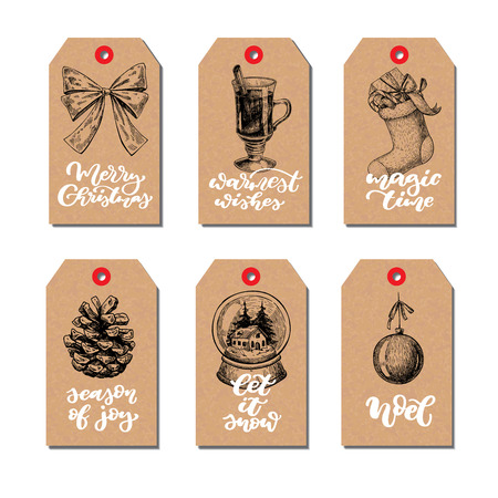 Christmas vintage gift tags set with lettering. Vector hand drawn illustration. Mulled wine, holly, mistletoe, sock, pine cone, snow globe, bow. Perfect for xmas holiday greetings. Calligraphy text.