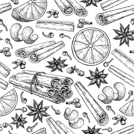 Mulled wine ingredients pattern. Stock Illustratie