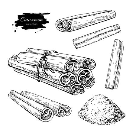 Cinnamon stick, tied bunch and powder set.