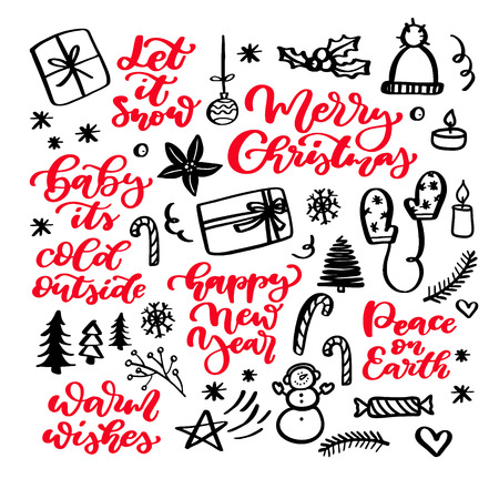 Christmas doodles and holiday lettering illustrations.