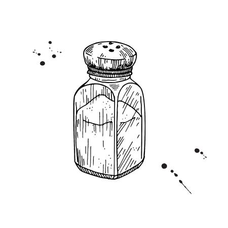 Salt shaker. Baking and cooking ingredient. Salt mill Foto de archivo