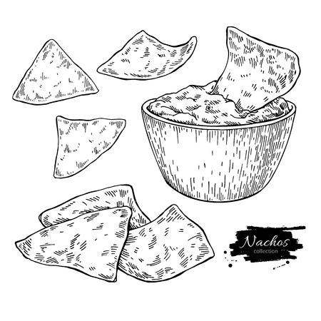 Nachos tekening. Traditionele Mexicaanse voedsel vectorillustratie.