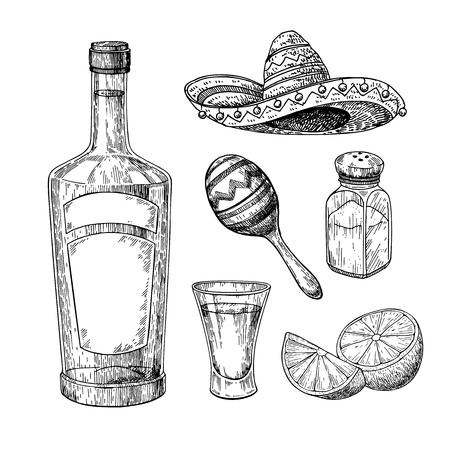 Tequila-fles, zoutvaatje en borrelglas met limoen. Mexicaanse alcohol drinken vector tekening. Schets van borrelglascocktail met citrusvruchtenplak. Gegraveerde illustratie voor label, pictogram, bar of restaurant menu.