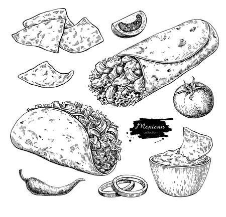 メキシコ料理を描画します。伝統的な料理のベクトル図です。