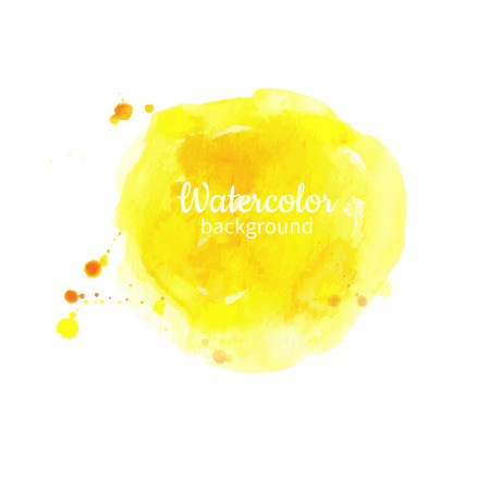 Watercolor yellow abstract hand painted background. Watercolor vector texture.