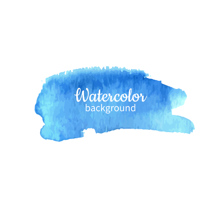 Watercolor blue abstract hand painted background. Watercolor vector texture. Great for card, flyer, poster. Çizim