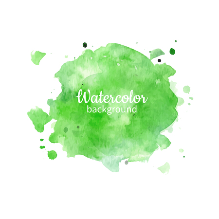 Watercolor green abstract hand painted illustration.