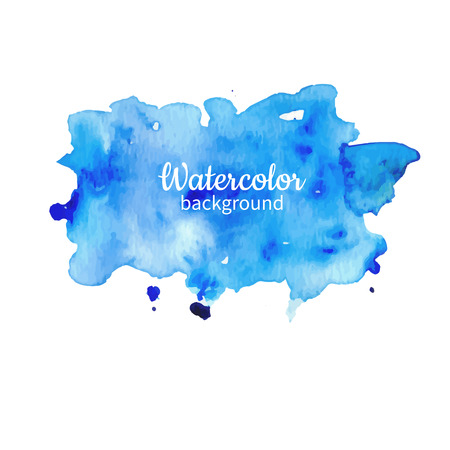 Watercolor blue abstract hand painted illustration.