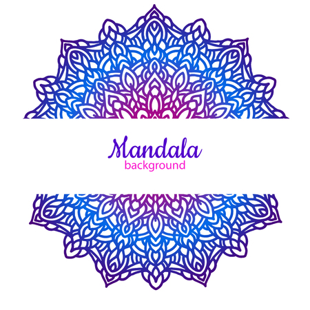 Ethnische Vektor Hintergrund Vorlage mit Mandala Blume Standard-Bild - 92527414