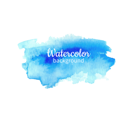 Watercolor blue abstract hand painted background. Watercolor vector texture. Great for card, flyer, poster. Vectores