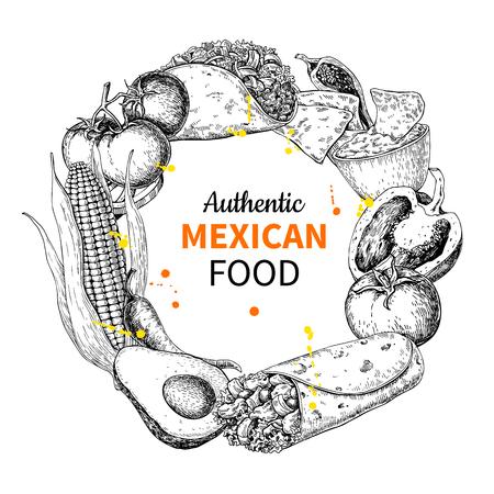 Mexicaans eten schets label in cirkelframe. Traditionele keukens met burito, taco, nacho's, chili, groenten. Gegraveerde stijl vintage sjabloon voor Mexicaans restaurant, café menu. Vectorillustratie voor banner, brochure, teken.