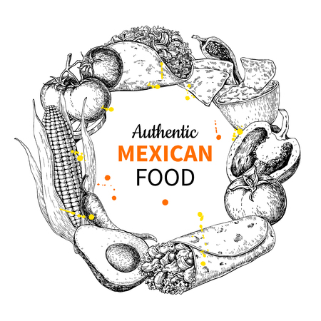 Mexican food sketch label in circle frame. Traditional cuisines drawing burito, taco, nachos, chili pepper, vegetables. Engraved style vintage template for mexican restaurant, cafe menu. Vector illustration for banner, brochure, sign. Illustration