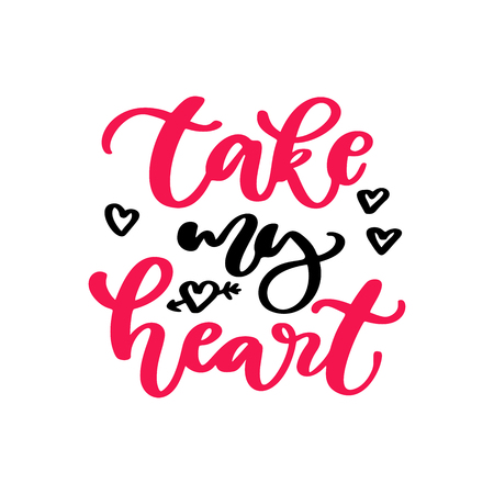 Valentine s Day vector lettering . Isolated handwriting calligra