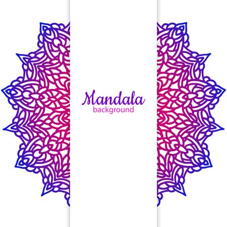 Etnische vector achtergrond sjabloon met mandala bloem Stockfoto - 93303954