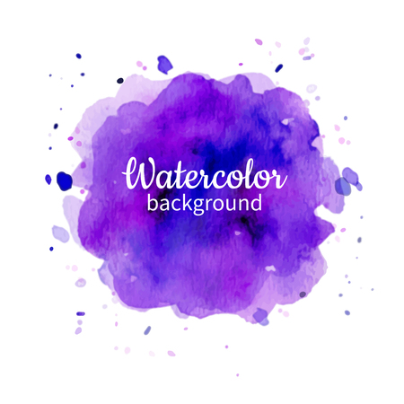 Vector violet watercolor abstract hand painted background.