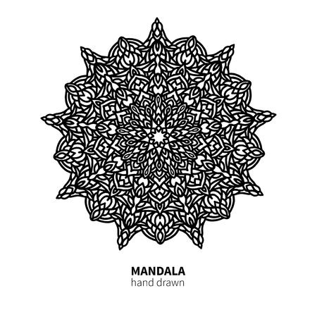 Mandala flower vector drawing. Decorative boho round ornament.