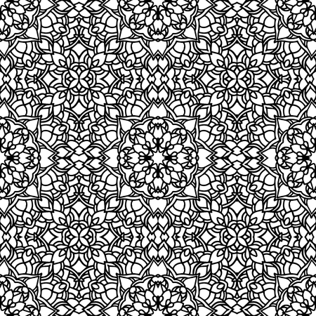 Ethnic vector floral seamless pattern with mandalas