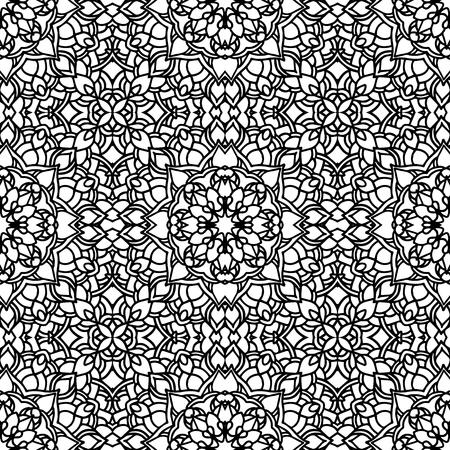 Etnisch vector bloemen naadloos patroon met mandala's