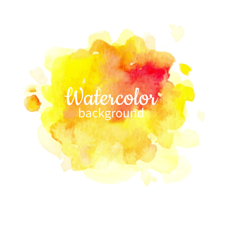 Vector yellow watercolor abstract hand painted background.