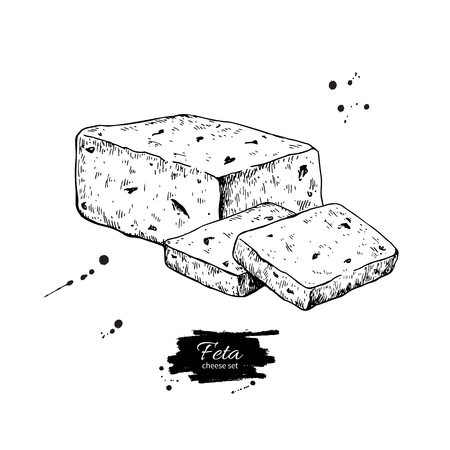 Greek feta cheese block, slice drawing. Vector hand drawn food sketch. Greek salad ingredient.  Farm market product for label, poster, icon.