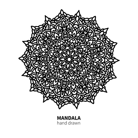 Mandala flower vector drawing. Decorative boho round ornament. Ethnic decorative element. Great for adult coloring book, antistress therapy,  meditation, yoga poster, lace pattern
