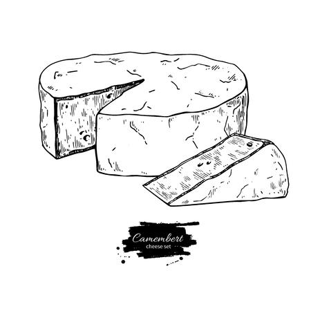 Camembertkäseblock und Dreieckzeichnung. Gezeichnete Lebensmittelskizze des Vektors Hand. Gravierte Scheibe geschnitten. Bauernhofmarktprodukt für Aufkleber, Plakat, Ikone, Verpackung. Molkerei-Vintage-Produkt