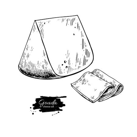ゴーダチーズブロック描画。ベクトル手描きの食品スケッチ。刻まれたスライスカット。ラベル、ポスター、アイコン、パッケージングのためのフ