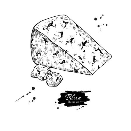 Blauwe kaas driehoek tekening. Vector hand getrokken voedsel schets gegraveerde plak Stock Illustratie