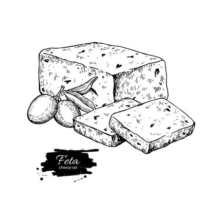 ギリシャのフェタチーズブロック描画。ベクトル手描き食品スケッチ