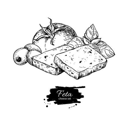 Greek feta cheese block slice drawing. Vector hand drawn food sk