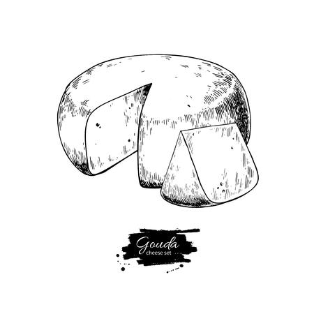 Gouda-Käse-Blockzeichnung. Gezeichnete Lebensmittelskizze des Vektors Hand. Gravierte Scheibe geschnitten.