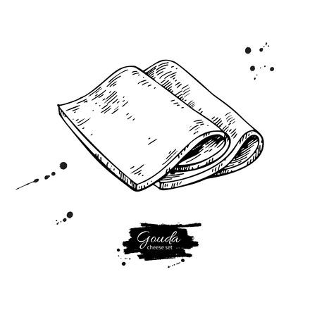 ゴーダチーズの絵。ベクトル手描きの食品スケッチ。刻まれたスライスカット。