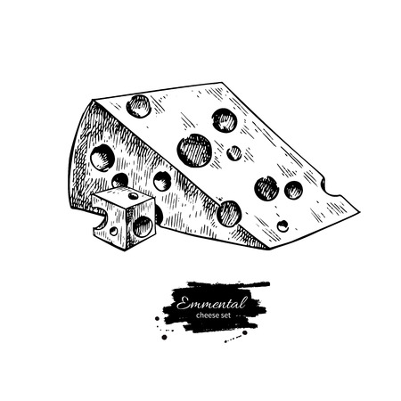 Emmental cheese drawing vector hand drawn food sketch. Engraved triangle slice and cube cut.